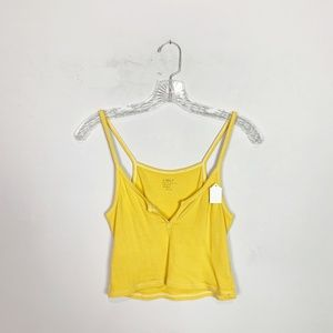 Brandy Melville yellow ribbed cropped tank top OS